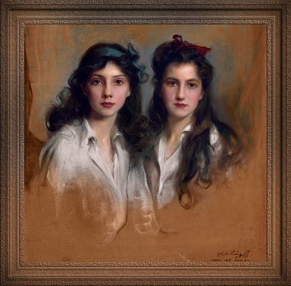 Princesses Xenia and Nyina Georgijevna of Russia by Philip de Laszlo Classical Art Xzendor7 Old Masters Reproductions by xzendor7