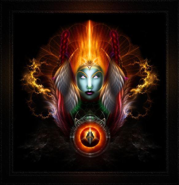 Riddian Queen Dynasty Of Power On Black Fractal Art Fantasy Portrait by xzendor7