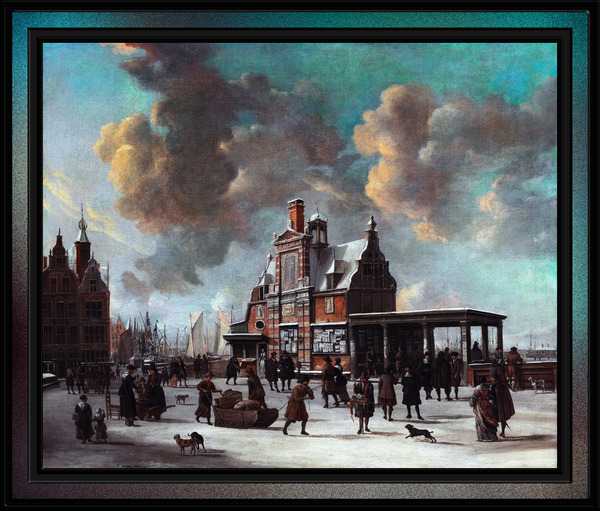 The Paalhuis and the Nieuwe Brug Amsterdam in the Winter by Jan Abrahamsz Beerstraaten by xzendor7