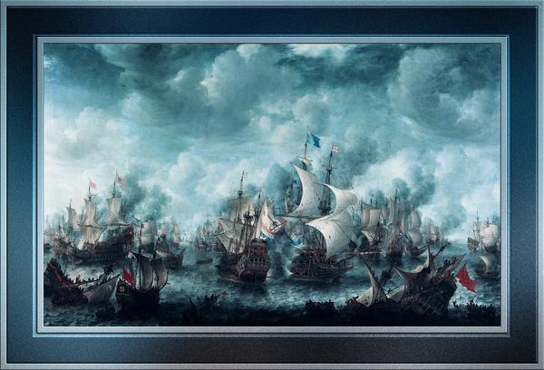 The Battle of Terheide by Jan Abrahamsz Beerstraaten Classical Fine Art Xzendor7 Old Masters Reproductions by xzendor7