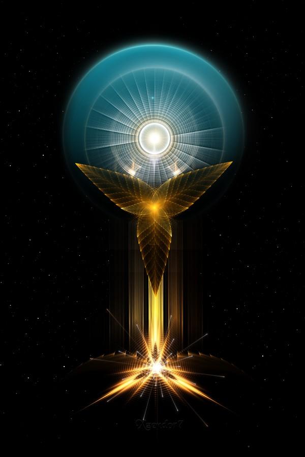 The Light Of Hope On Golden Wings Fractal Art by xzendor7