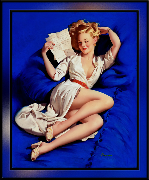 A Love Letter Pin-up Girl Illustration by Gil Elvgren Pin-up Girl Wall Decor Artwork by xzendor7