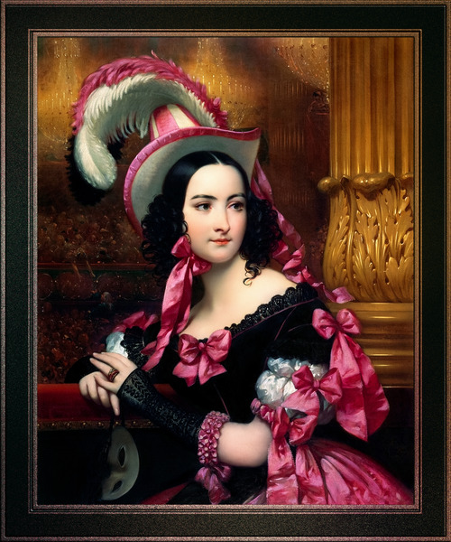 The Venetian At The Mask Ball by Joseph-Desire Court Classical Fine Art Xzendor7 Old Masters Reproductions by xzendor7