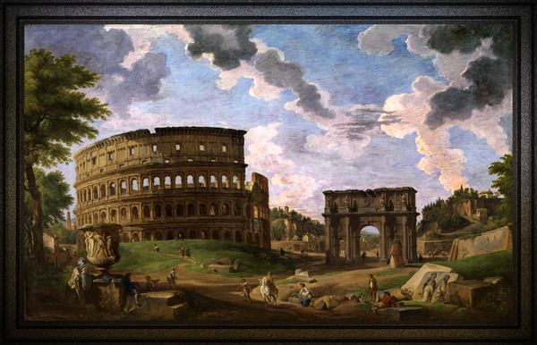 View of the Colosseum by Giovanni Paolo Pannini Old Masters Reproduction by xzendor7