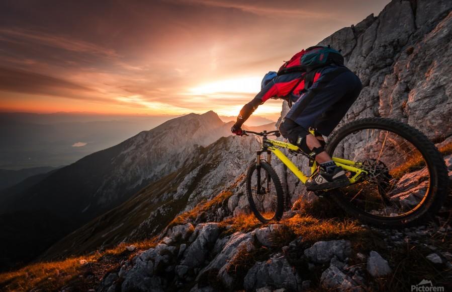 Golden hour high alpine ride  Print
