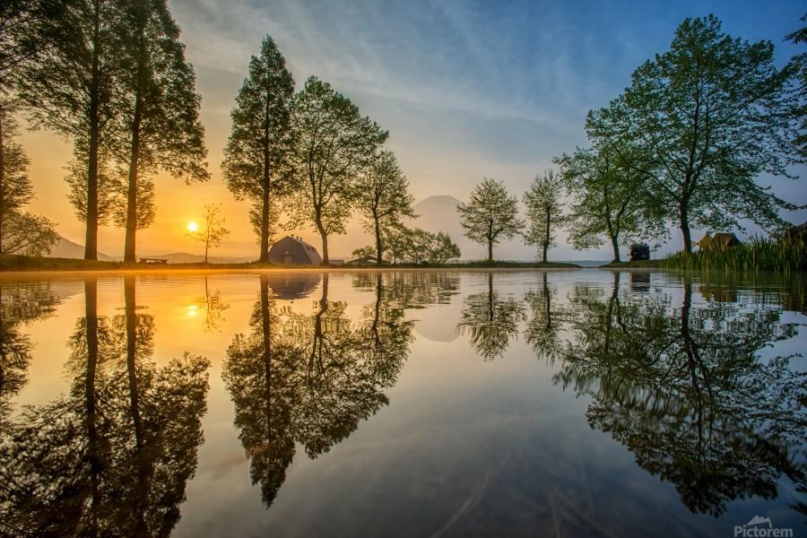 Mount Fuji reflected in Lake , Japan  Print