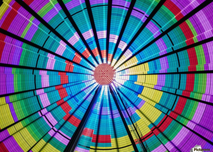 Long exposure photograph showcasing the many color combinations the Big Wheel produces at night; Seattle, Washington, United States of America  Print