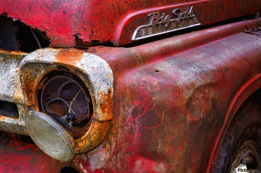 Detail of fire truck that belonged to Kodiak Volunteer Fire Department; Kodiak, Alaska, United States of America  Print