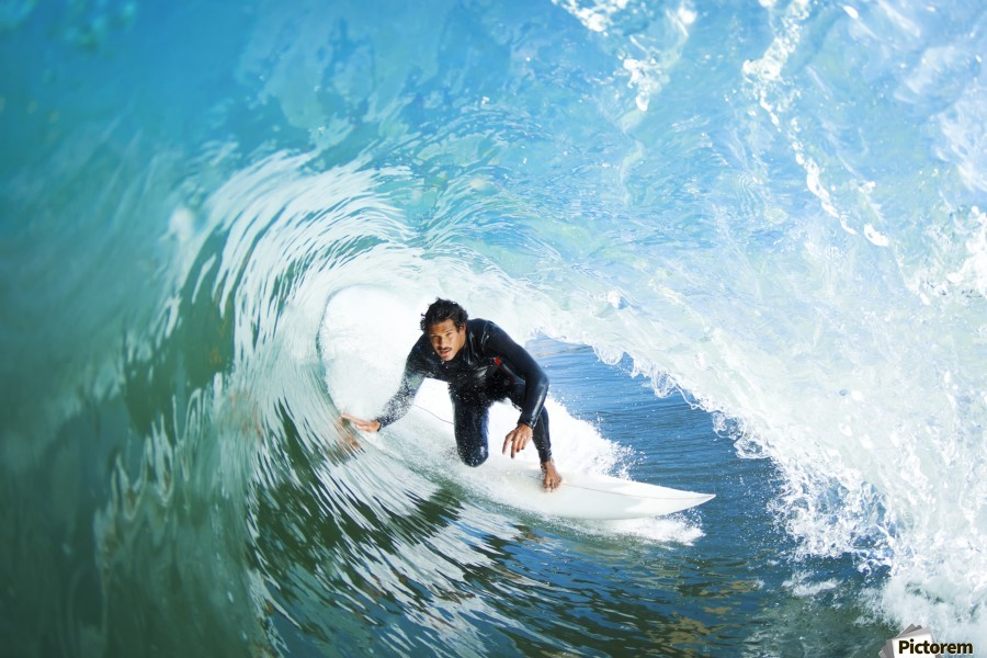 Surfer On Blue Ocean Wave  Print