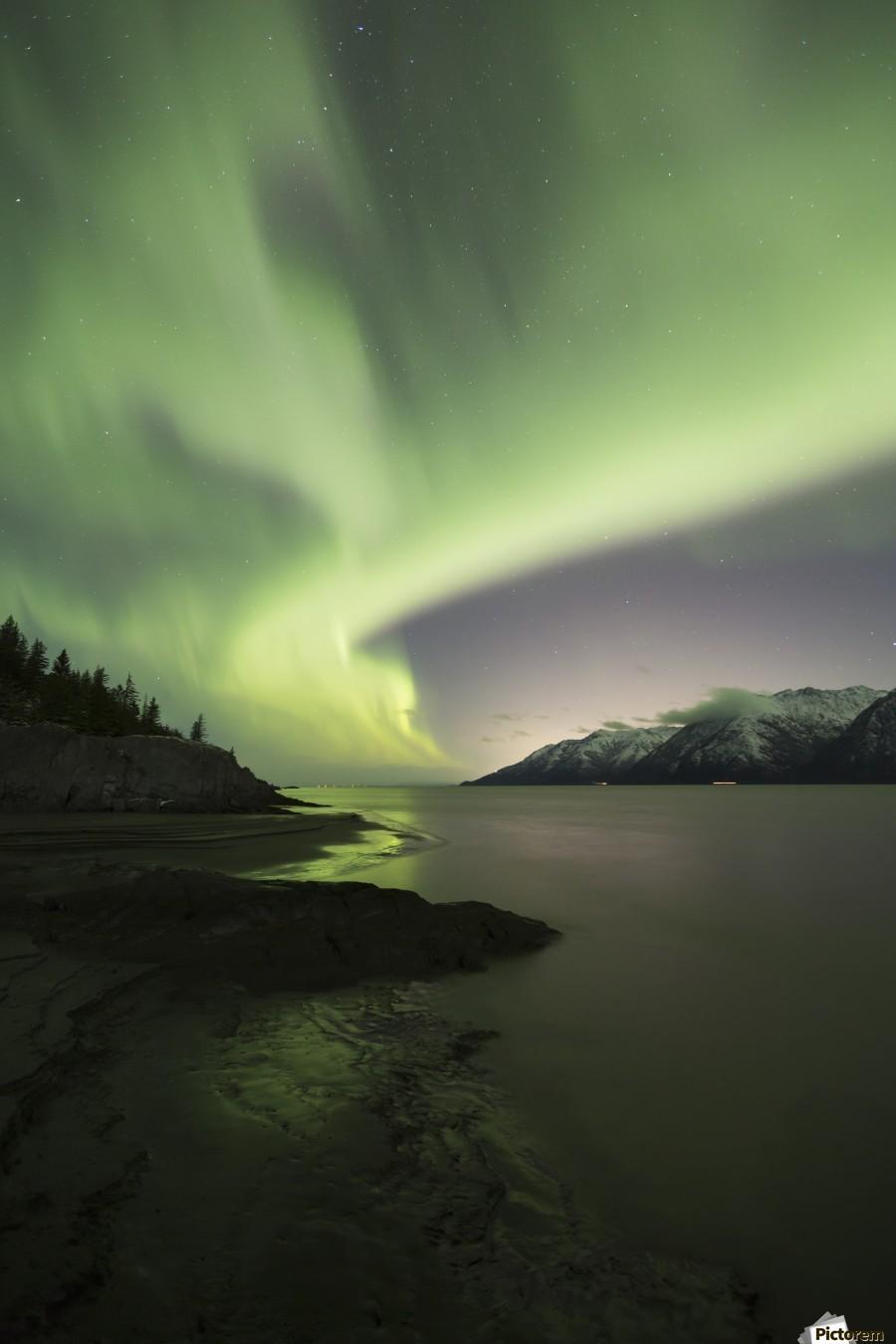 Aurora Borealis dancing above the Chugach Mountains and Turnagain Arm, Kenai Peninsula, Southcentral, Alaska  Print