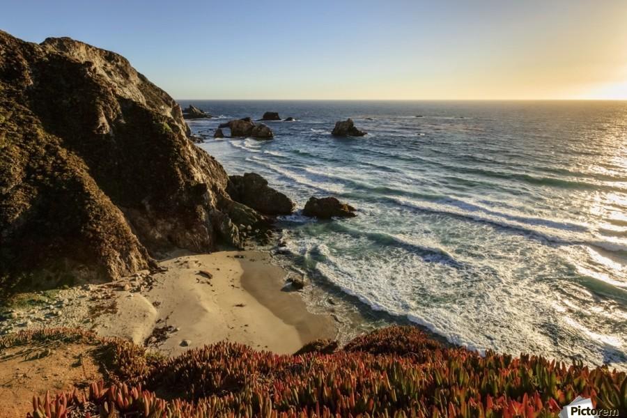 Cliffs along Big Sur coastline near Rocky Creek Bridge on Highway One; California, United States of America  Print