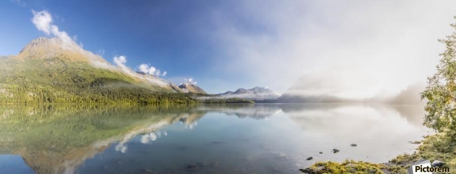 Scenic panorama of Kenai Lake and fog at sunrise, Cooper Landing, Southcentral Alaska, USA  Print