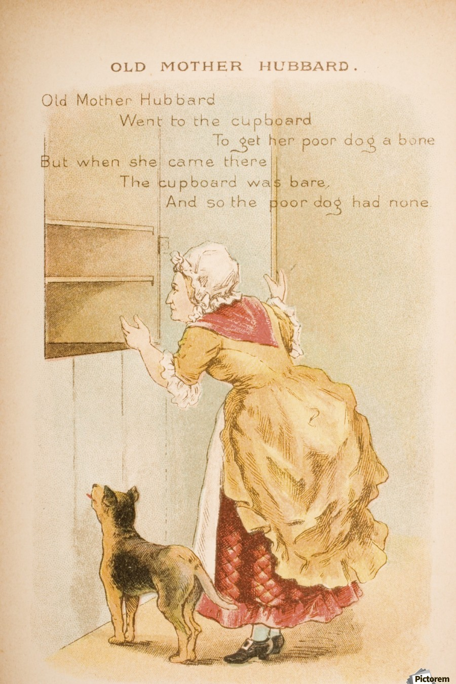Old Mother Hubbard from Old Mother Goose's Rhymes and Tales  Illustration by Constance Haslewood  Published by Frederick Warne & Co London and New York circa 1890s  Chromolithography by Emrik & Binger of Holland  Print
