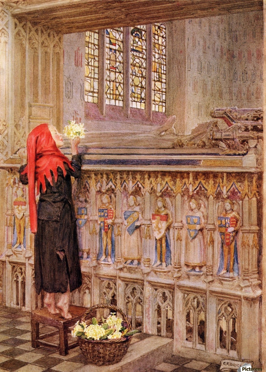 Coloured illustration by Eleanor Fortescue Brickdale illustrating the poem Death the Leveller by Shirley. From the book Palgrave's Golden Treasury of Songs and Lyrics published 1919.  Print