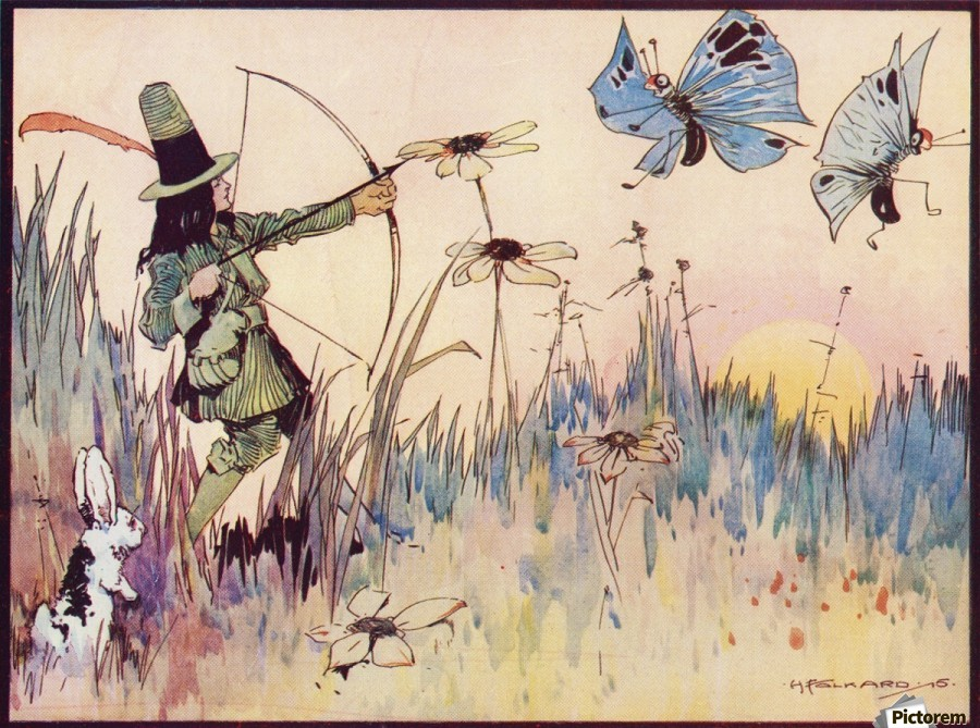 Big Game Hunting in Fairyland. From the illustration by H Folkard from the book Princess Marie-José's Children's Book published 1916.  Print
