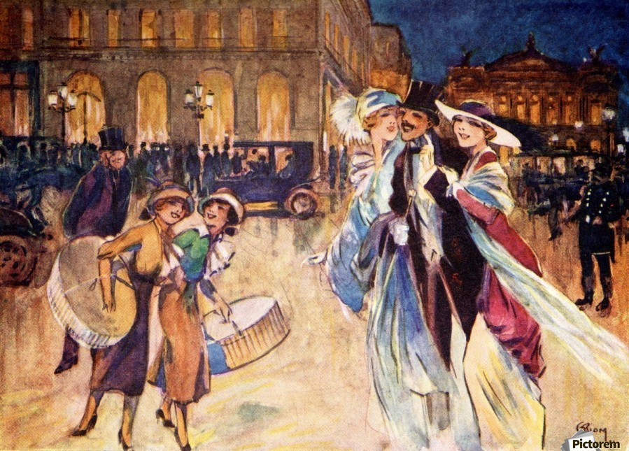 The Heart of Fashionable Paris. Colour illustration from the book France by Gordon Home published 1918  Print