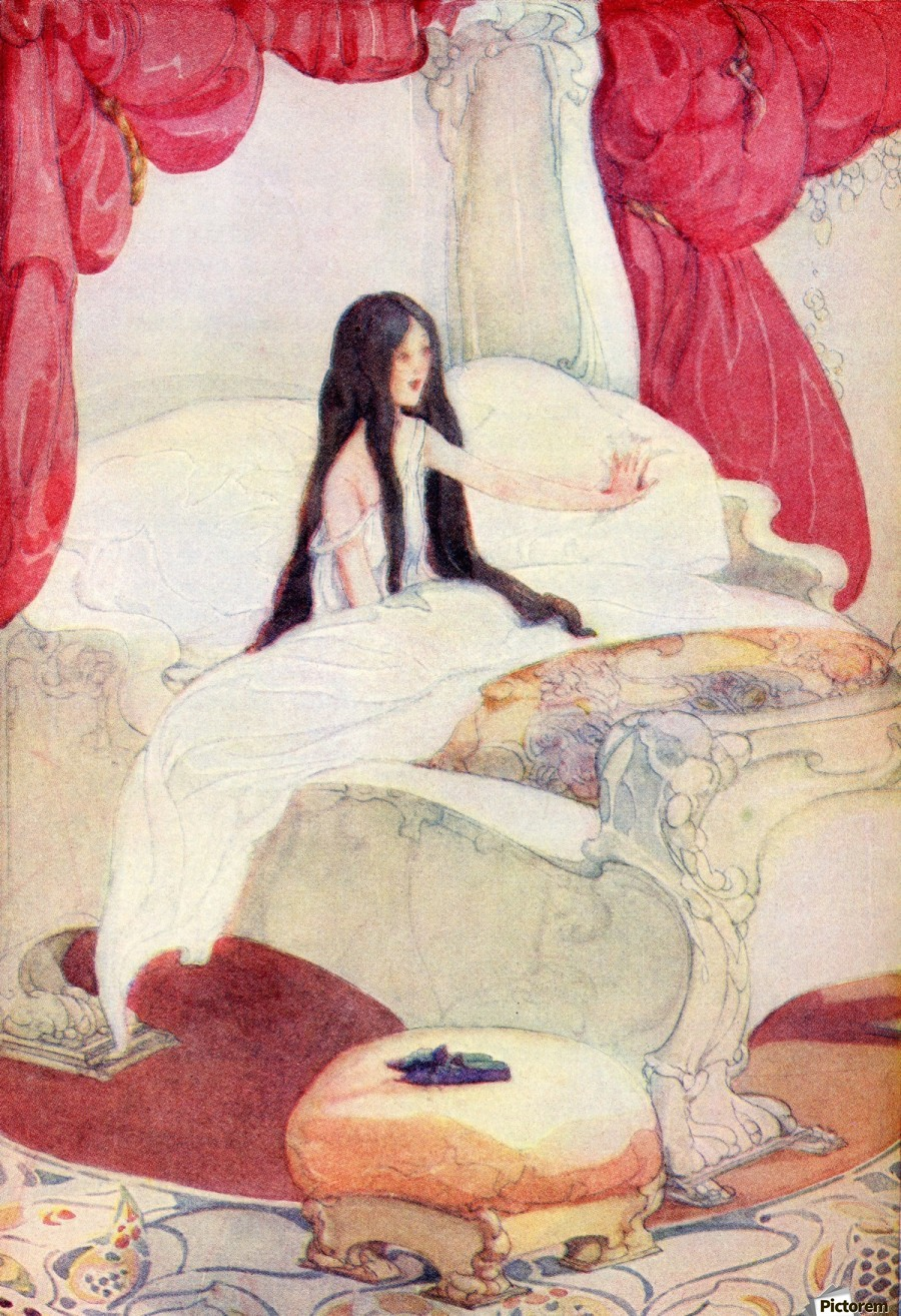 The House in the Wood, illustration from The Golden Wonder Book published 1934.  The bed was of ivory, and the curtains of red velvet, and on a stool close by was placed a pair of slippers ornamented with pearls.  Print