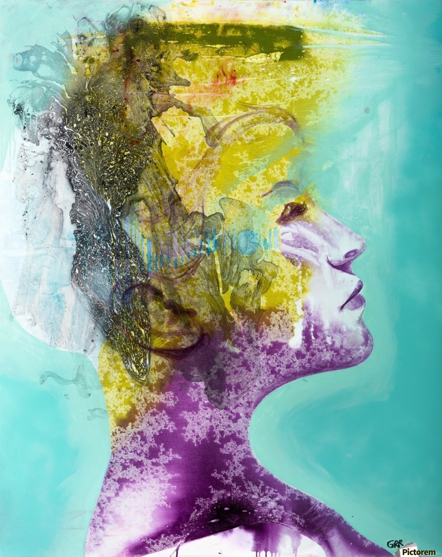 Illustration of a woman's head with colourful abstract patterns emerging from the back of the head  Print