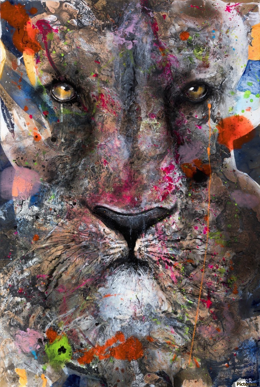 Illustration of a lion's face with colourful splashes  Print
