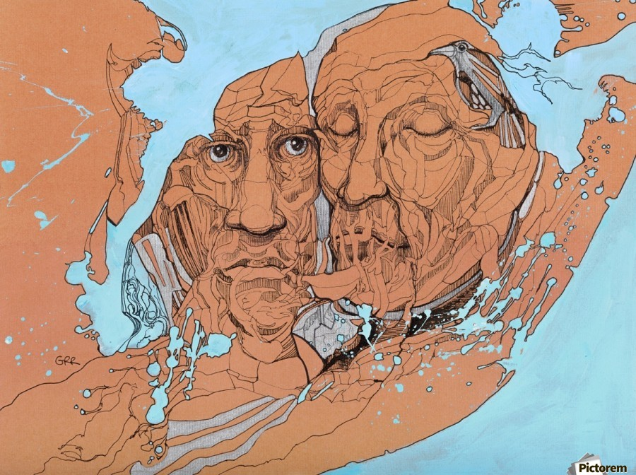 Illustration of two male faces and an abstract blue and brown background  Print
