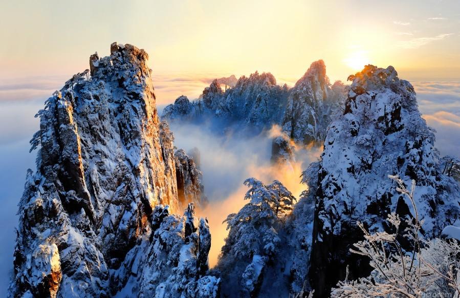 Sunrise at Mt. Huang Shan  Print
