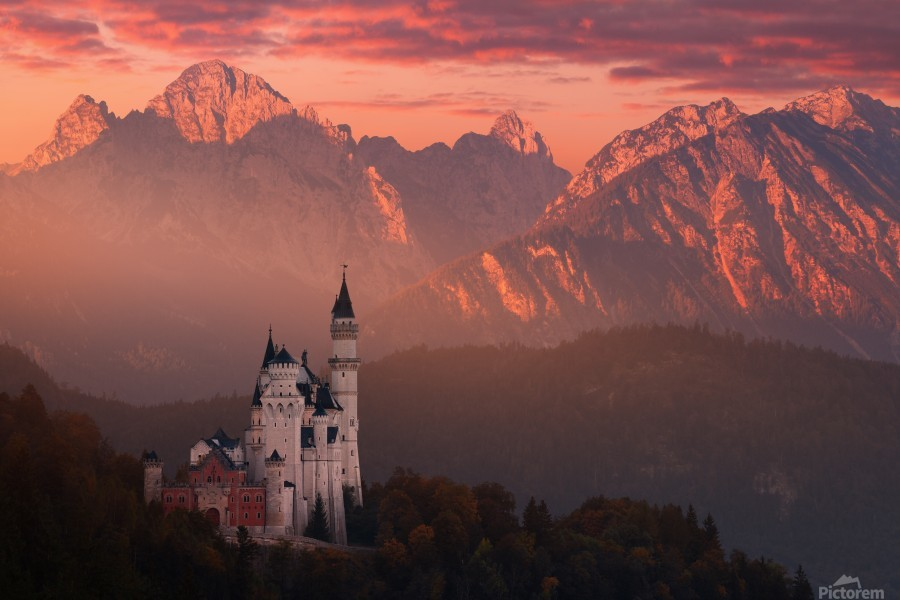 Red morning above the castle  Print
