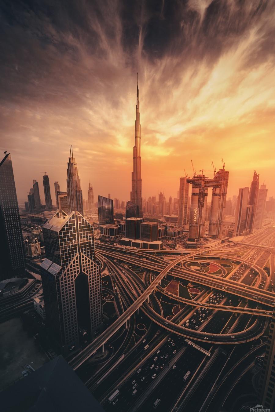 Dubai's Fiery sunset  Print