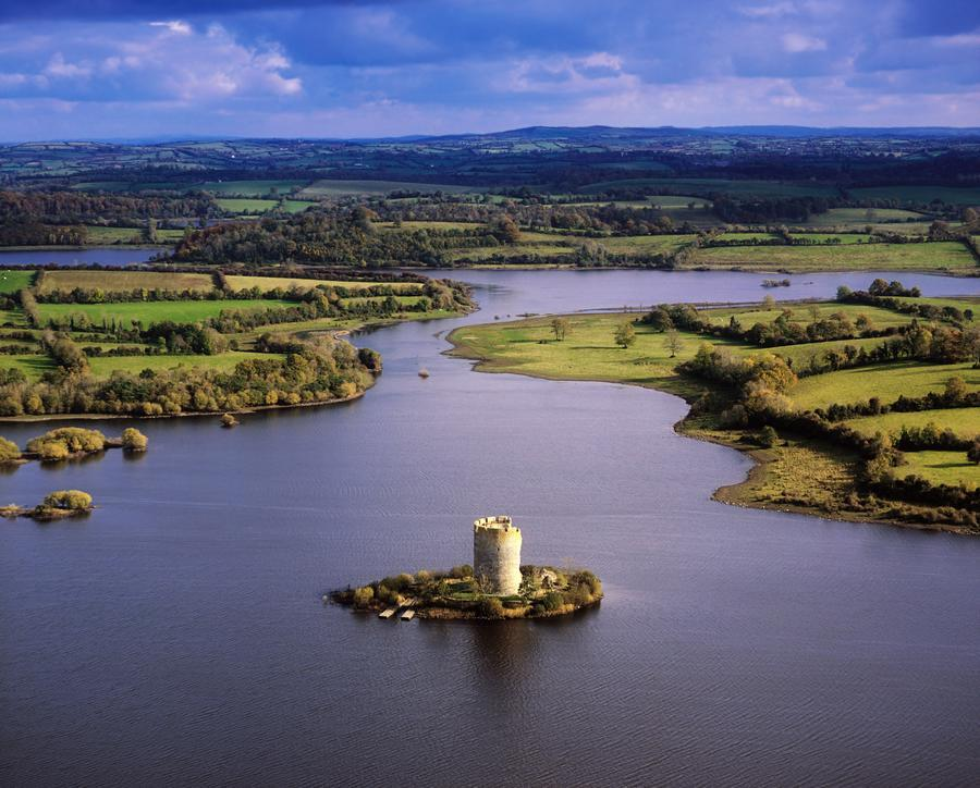 Cloughoughter Castle, Co Cavan, Ireland; Aerial View Of Lough Oughter And 13Th Century Castle Built On The Possible Site Of A Crannog  Print