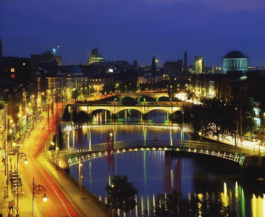 Dublin, Co Dublin, Ireland; View Of The River Liffey At Nighttime  Print