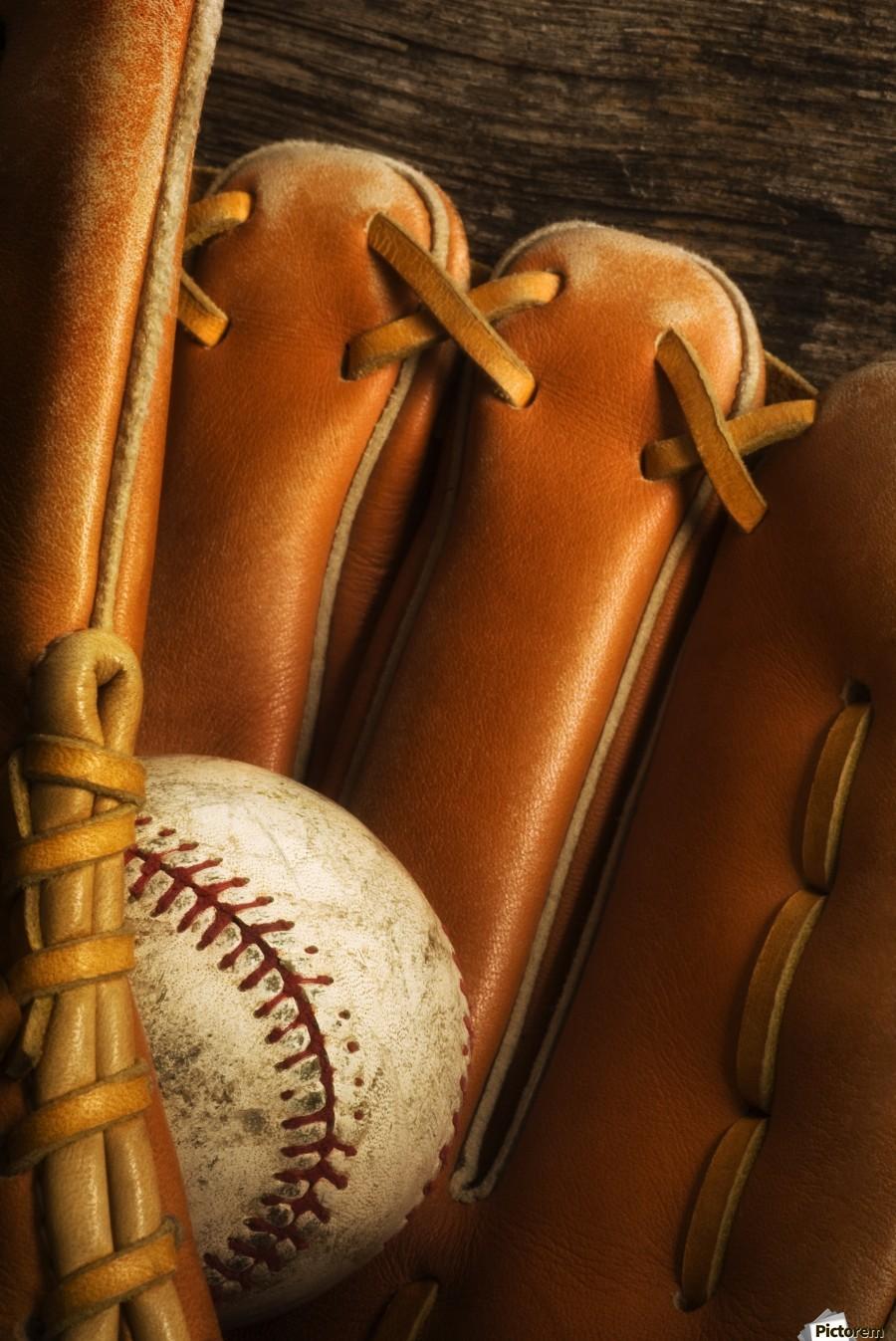 Baseball Glove And Baseball  Print