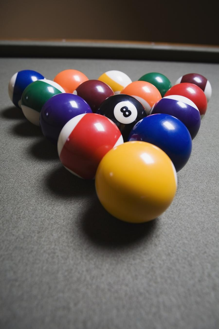 Pool Balls On A Billiard Table With The Eight Ball Facing Upwards  Print