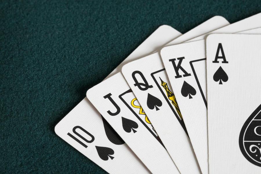 Close-Up Of Blackjack Playing Cards Showing Spades Royal Flush  Print