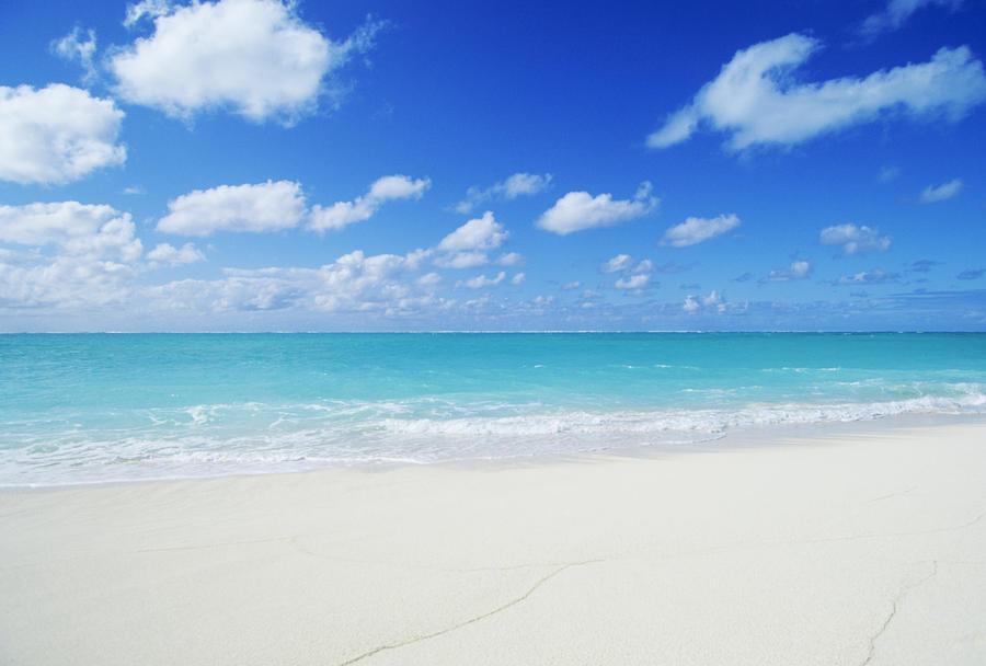 Northwestern Hawaiian Islands, Midway Atoll, Sand Island, Turquoise Ocean And White Sand Beach.  Print