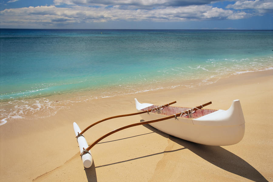 White Outrigger Canoe On Shoreline With Shadow, Calm Turquoise Water  Print