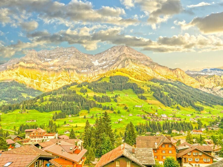 Golden Rays in the Mountains Alpine Village Switzerland  Print