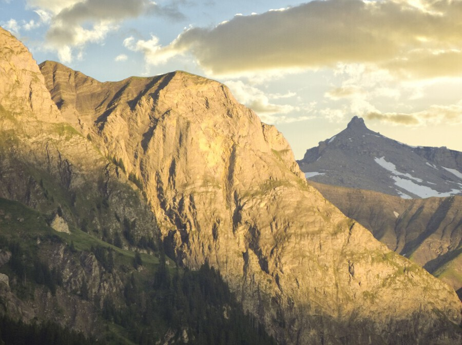 Golden Rays of the Sun on the Swiss Alps in the Bernese Highlands  Print