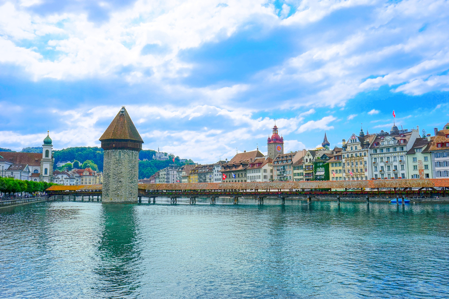 Chapel Bridge   Lucerne Switzerland  Print