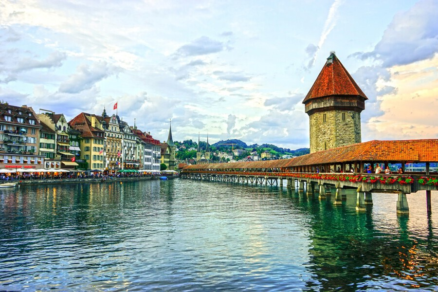 Chapel Bridge and Old Town at Sunset Lucerne Switzerland  Print