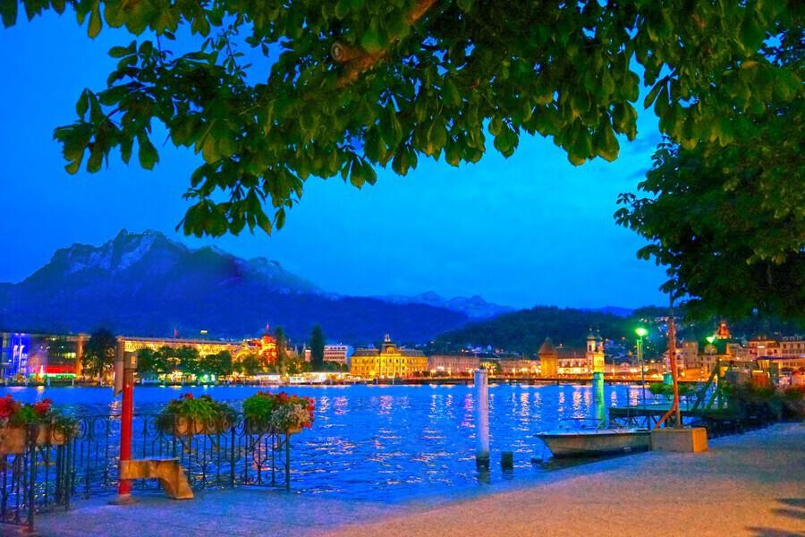 City Lights over Lake Lucerne Switzerland  Print