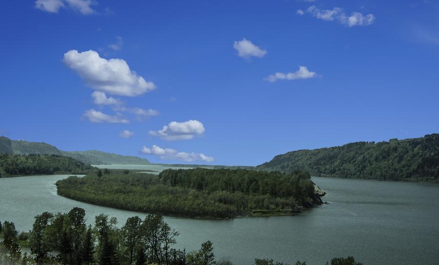Columbia River The Gorge Oregon Panorama  Print