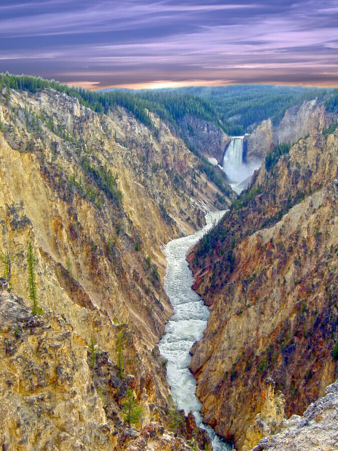 Grand Canyon of Yellowstone - The Falls and River in the Fading Light of Day  Yellowstone National Park at Sunset  Print