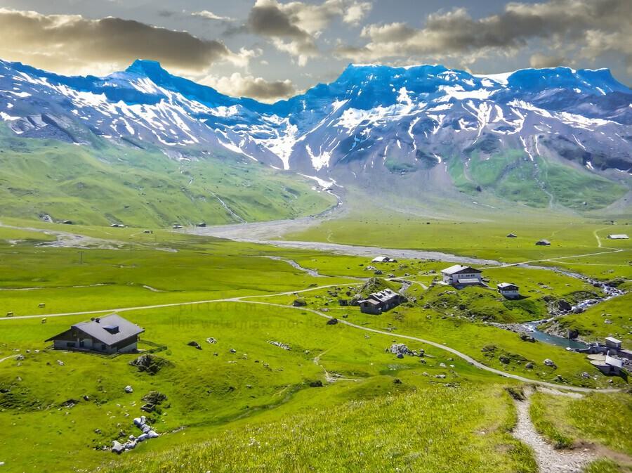 High Alps Village in Spring Switzerland  Print