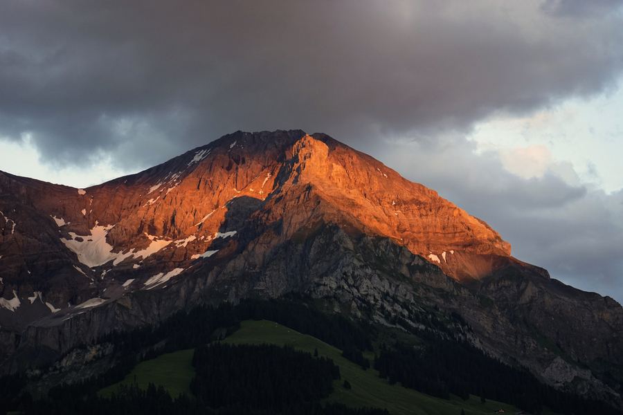 Mountain Bathed in the Golden Rays of the Sun at Sunset in Switzerland 3 of 3  Print