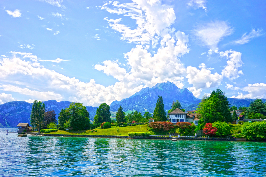 Perfect Day on the shores of Lake Lucerne Switzerland  Print