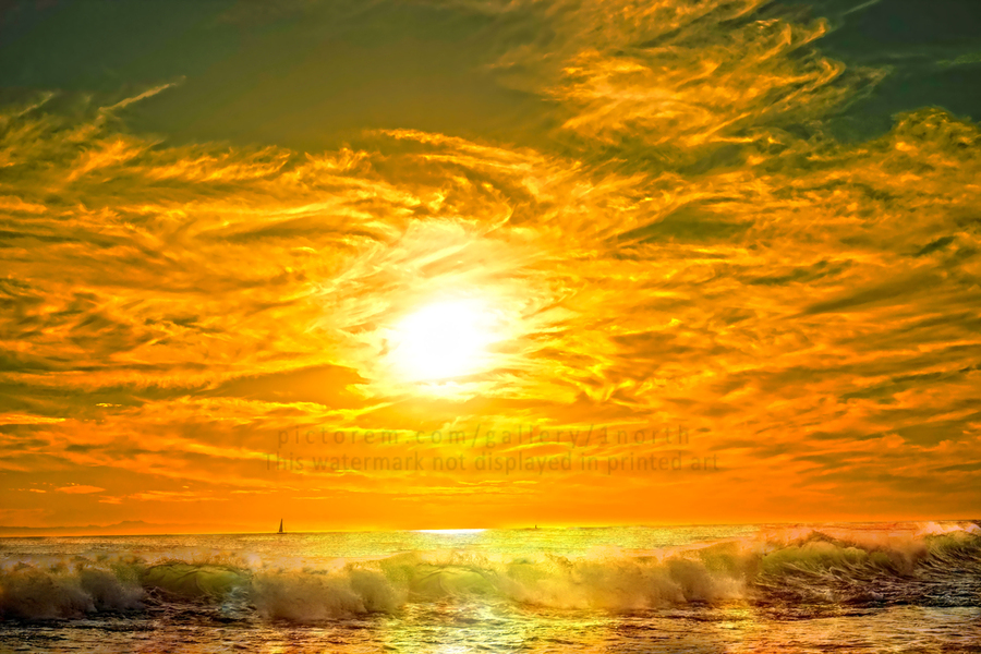 Wild Waves Break as the Sun Sets over Catalina Island in Newport Beach California  Print