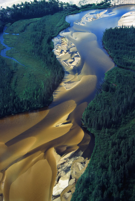 Aerial View Of Williams River That Runs Through Athabaska Dune Fields, Northern Saskatchewan.  Print