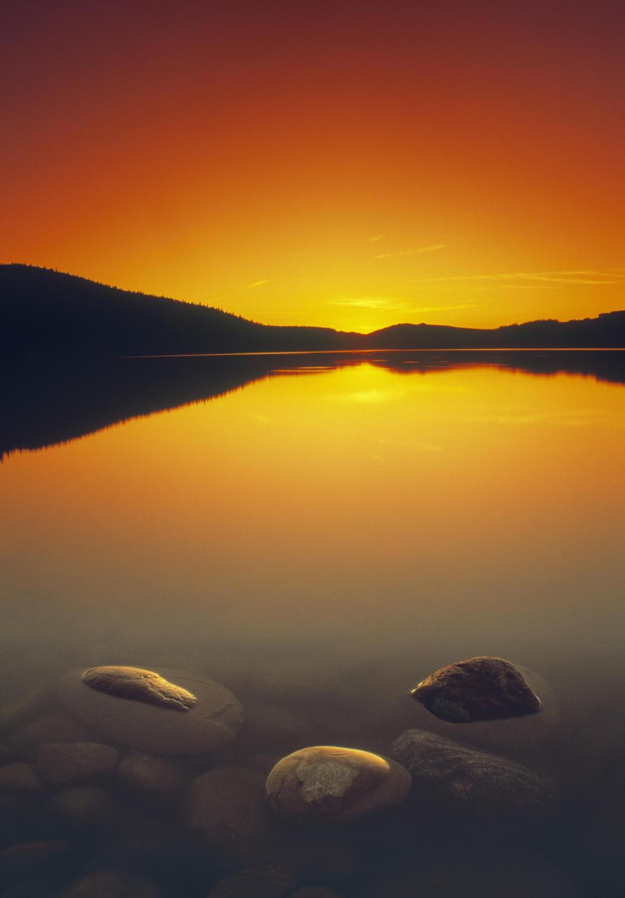 Reesor Lake At Sunset, Cypress Hills Interprovincial Park, Elkwater, Alberta, Canada  Print