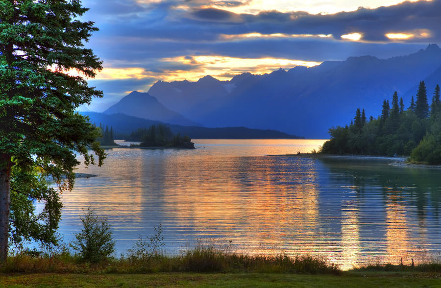 Sunrise On Lake Clark In Lake Clark National Park, Southcentral, Alaska, Hdr Image  Print