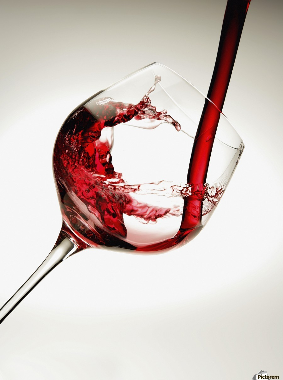 Red wine pouring into a glass  Print