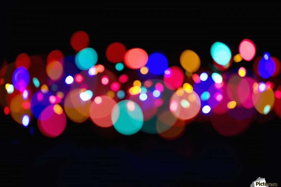 The Blur Of Coloured Lights; Edmonton, Alberta, Canada  Print